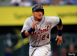 KANSAS CITY, MO - JULY 20:  Miguel Cabrera #24 of the Detroit Tigers in action during the game against the Kansas City Royals at Kauffman Stadium on July 20, 2013 in Kansas City, Missouri.  (Photo by Jamie Squire/Getty Images)