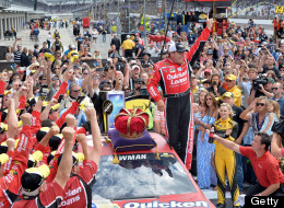 Nascar driver Ryan Newman celebrates after winning the Brickyard 400 on July 28, 2013 in Indianapolis, Indiana.