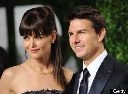 WEST HOLLYWOOD, CA - FEBRUARY 26:  Katie Holmes and Tom Cruise attend the 2012 Vanity Fair Oscar Party at Sunset Tower on February 26, 2012 in West Hollywood, California.  (Photo by Jon Kopaloff/FilmMagic)