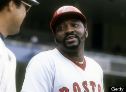 NEW YORK - CIRCA 1977: George Scott #15 of the Boston Red Sox talks with Reggie Jackson #44 of the New York Yankees before a Major League Baseball game circa 1977 at Yankee Stadium in the Bronx borough of New York City. Scott played for the Red Sox from 1966-71 and 1977-79. (Photo by Focus on Sport/Getty Images)