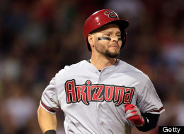 Cody Ross #7 of the Arizona Diamondbacks runs down the first base line after grounding out to the shortstop in the ninth inning against the Boston Red Sox at Fenway Park on August 2, 2013 in Boston, Massachusetts. Ross hit a home run in the seventh inning. (Photo by Gail Oskin/Getty Images)