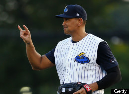 Alex Rodriguez of the New York Yankees signals two outs in a rehab game for the Trenton Thunder against the Reading Fightin Phils at Arm & Hammer Park on August 2, 2013 in Trenton, New .Jersey.