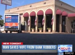 Kidnappers forced a woman to withdraw funds from the bank where she works. Her husband shot the suspects following the robbery.