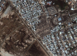 This is a satellite image of damage cause by Hurricane Sandy, Breezy Point, New York, United States collected on November 4, 2012.  (Photo DigitalGlobe via Getty Images)
