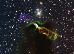This unprecedented image of Herbig-Haro object HH 46/47 combines radio observations acquired with the ALMA with much shorter wavelength visible light observations from ESO's New Technology Telescope (NTT). The ALMA observations of the newborn star reveal a large energetic jet moving away from us, which in the visible is hidden by dust and gas.