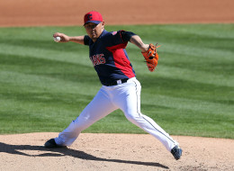 Relief pitcher Daisuke Matsuzaka #20 of the Cleveland Indians pitches during Spring Training, 2013 (Christian Petersen/Getty Images)