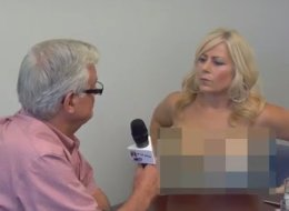 Lori Welbourne, a syndicated columnist with The Province newspaper, took off her top mid-interview with her hometown mayor to prove a point about equality. (YouTube)