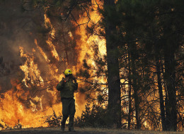 Firefighter A.J. Tevis watches the flames of the Rim Fire near Yosemite National Park, Calif., on Sunday, Aug. 25, 2013. (AP Photo/Jae C. Hong)