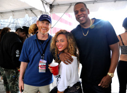Director Ron Howard poses with Beyonce Knowles-Carter and Jay-Z backstage during Budweiser Made In America Festival Sept, 2, 2012 in Philadelphia (Photo by Kevin Mazur/WireImage)