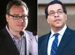 Naheed Nenshi, Ezra Levant got into a war of words on Twitter on Sunday. (CP)
