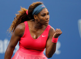 Serena Williams celebrates during her women's singles final match against Victoria Azarenka at the 2013 US Open.