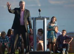 Stephen Harper poked a little fun at the marijuana debate during a stop in Kelowna on Friday night. (Canadian Press)