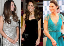A collection of Kate Middleton's most glamorous looks. (Getty)