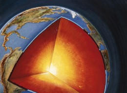 A team of researchers used a computer model to determine that the Earth's core spins in not one direction, but two. (Illustration via Getty)
