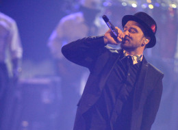 Justin Timberlake performs onstage during the iHeartRadio Music Festival.