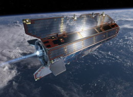 Artist's conception of the European Space Agency's Gravity field and steady-state Ocean Circulation Explorer (GOCE) satellite in orbit. The $450 million satellite launched in 2009 to study Earth's gravity field in unprecedented detail and will fall to Earth in 2013.