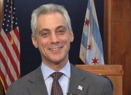 Chicago Mayor Rahm Emanuel smugging it up on the city of Boston's website Wednesday.