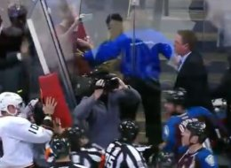 Patrick Roy meet stanchion. Stanchion, meet Patrick. The Avalanche coach nearly got into a fight on Wednesday night.