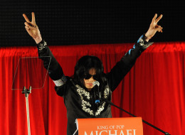 LONDON - MARCH 05:  (EMBARGOED FOR PUBLICATION IN UK TABLOID NEWSPAPERS UNTIL 48 HOURS AFTER CREATE DATE AND TIME)  Michael Jackson announces plans for Summer residency at the O2 Arena at a press conference held at the O2 Arena on March 5, 2009 in London, England.  (Photo by Dave M. Benett/Getty Images)
