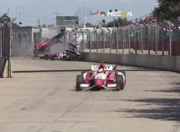 Dario Franchitti crashed during the Grand Prix of Houston.