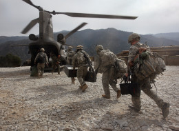 2008: U.S. soldiers board an Army Chinook transport helicopter.