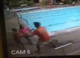 A video of a swimming pool that surfaced on LiveLeak on Tuesday shows the force of a 7.2-magnitude earthquake. (LiveLeak)