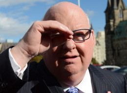 Sen. Mike Duffy shields his eyes as he arrives at the Senate on Parliament Hill in Ottawa on Oct. 22. (THE CANADIAN PRESS/Sean Kilpatrick)