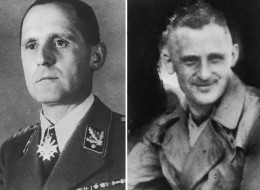 Gestapo Chief Heinrich Mueller, in his uniform (left) and in a trenchcoat (right), circa 1943. (Photo by Paul Popper/Popperfoto/Getty Images)