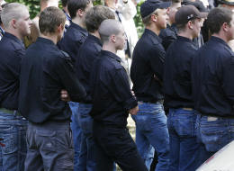 A group of young neo-nazis attend a celebration at the Ulrichsberg (Mount Ulrich) on September 21, 2008 in Karnburg, some 300 kms south of Vienna. (DIETER NAGL/AFP/Getty Images)