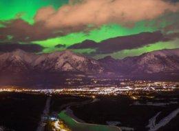 Photographers capture stunning northern lights display over Alberta's Rockies.