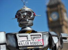 A mock 'killer robot' is pictured in central London