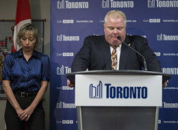 Renata Ford, Rob Ford's wife, at a press conference where her husband apologized for his sexually explicit remarks (CP)