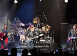 ATLANTIC CITY, NJ - AUGUST 11:  (L-R) Jonathan Cain, Arnel Pineda, Deen Castronovo, Ross Valory and Neal Schon of Journey perform in concert at the Ovation Hall at Revel Resort & Casino on August 11, 2012 in Atlantic City, New Jersey.  (Photo by Donald Kravitz/Getty Images)
