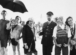1978: All six members of the Monty Python team on location in Tunisia to film 'Monty Python's Life of Brian'. From left to right they are John Cleese, Terry Gilliam, Terry Jones, Graham Chapman (1941 - 1989), Michael Palin and Eric Idle. (Photo by Evening Standard/Getty Images/Getty Images)