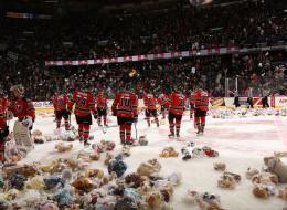 Calgary Hitmen fans donated more than 25,000 teddy bears at the team's annual Teddy Bear toss.
