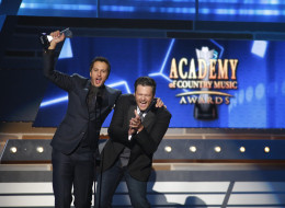 LAS VEGAS - APRIL 7: Luke Bryan and Blake Shelton during The 48th Annual Academy of Country Music Awards, which will be co-hosted by Luke Bryan and Blake Shelton, will be broadcast live from the MGM Grand Garden Arena in Las Vegas Sunday, April 7 (8:00-11:00 PM live ET/delayed PT) on the CBS Television Network. (Photo by Adrian Sanchez-Gonzalaz/CBS via Getty Images)