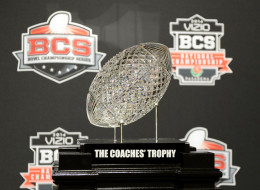 The Coaches' Trophy is on display during the Vizio BCS National Championship media day news conference January 4, 2014 in Newport Beach, California.    (Photo by Kevork Djansezian/Getty Images)