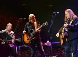 NEW YORK, NY - APRIL 13:  Derek Trucks, Gregg Allman and Warren Haynes perform on stage during the 2013  Crossroads Guitar Festival at Madison Square Garden on April 13, 2013 in New York City.  (Photo by Larry Busacca/Getty Images)
