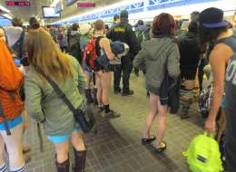 The No Pants SkyTrain Ride in Vancouver drew over 100 participants on Sunday, in what an organizer said was the biggest attendance he had ever seen.