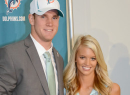 DAVIE, FL - APRIL 28:  Ryan Tannehill and his wife Lauren Tannehill pose at a press conference at the Miami Dolphins training facility on April 28, 2012 in Davie, Florida. Ryan Tannehill was the Dolphins first round draft pick and taken eighth overall after quaterbacking for Texas A&M. (Photo by Ron Elkman/Sports Imagery/Getty Images)