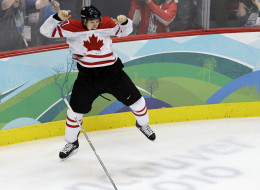 Sidney Crosby celebrates his golden goal at the 2010 Olympic Winter Games.