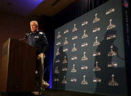 Head coach Pete Carroll of the Seattle Seahawks addresses the media during Super Bowl XLVIII media availability at the Westin Hotel January 27, 2014 in Jersey City, New Jersey.