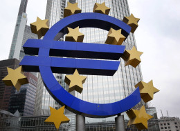 The EURO logo is pictured in front of the European Central Bank (ECB) in Frankfurt/Main, Germany, on February 3, 2014. (DANIEL ROLAND/AFP/Getty Images)