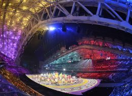 Actors and dancers perform during the Opening Ceremony of the Sochi Winter Olympics at the Fisht Olympic Stadium on February 7, 2014 in Sochi.