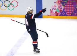 T.J. Oshie #74 of the United States celebrates after scoring on a shootout against Sergei Bobrovski #72 of Russia to win the Men's Ice Hockey Preliminary Round Group A game on day eight of the Sochi 2014 Winter Olympics at Bolshoy Ice Dome on February 15, 2014 in Sochi, Russia.  (Photo by Clive Mason/Getty Images)