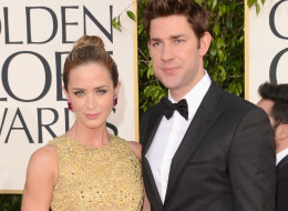 Emily Blunt and John Krasinski have welcomed a baby girl, Hazel. Here, they arrive at the Golden Globe Awards on Jan. 13, 2013 in Beverly Hills, California.  (Photo by Jason Merritt/Getty Images)