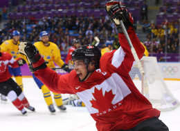Sidney Crosby #87 of Canada celebrates after scoring his team's second goal in the second period during the Men's Ice Hockey Gold Medal match against Sweden on Day 16 of the 2014 Sochi Winter Olympics at Bolshoy Ice Dome on February 23, 2014 in Sochi, Russia.  (Photo by Martin Rose/Getty Images)