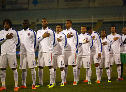 The USA team stands for the national anthem  during the Ukraine v USA International Friendly  at Antonis Papadopoulos stadium on March 5, 2014 in Larnaca, Cyprus.  (Photo by Andrew Caballero-Reynolds/Getty Images)
