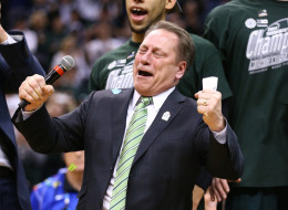 Tom Izzo the head of the Michigan State Spartans celebrates after the 69-55 win over the Michigan Wolverines  during the finals of the Big Ten Basketball Tournament at Bankers Life Fieldhouse on March 16, 2014 in Indianapolis, Indiana.  (Photo by Andy Lyons/Getty Images)