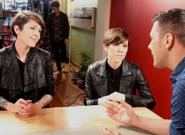 Tegan and Sara talk to George Stroumboulopoulos while filming his intimate 'Strombo Home Sessions' performance and interview.